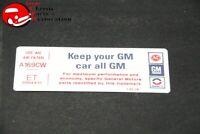 "75 76 CAMARO, NOVA 250 AIR CLEANER ""KEEP YOUR GM CAR ALL GM"" CODE ""ET"" DECAL"