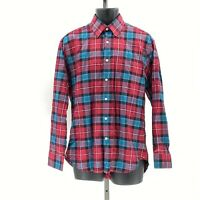 Robert Talbott Classic mens plaid button down shirt sz M Medium