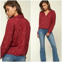 Nwt O'Neill Drake Top Blouse Ruby Red Size Large