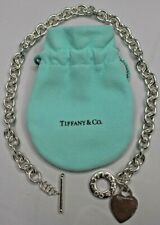 "Tiffany & Co 925 Sterling Silver Heart Charm Toggle Necklace ""Always"" 16''"