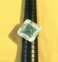 Statement Turquoise Ring, Clear Glitter Resin Lozenge, Sizeable O - Q,. #526