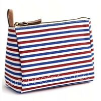 JCREW J. Crew Coated Canvas Striped Cosmetic Makeup Case Pouch ~ IVORY RED BLUE
