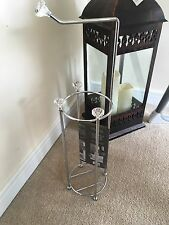 Crystal Diamante Chrome Toilet Kitchen Roll Stacker Holder Stand New Sparkle