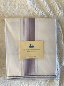 NEW Pottery Barn Kids Ribbon Shower Curtain, White with Lavender Stripe