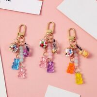 Bear Key Chain Cute Resin Gummy Bear Keychains Candy Color Animal Bear Charm