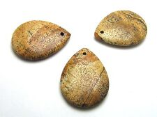 3 pcs PICTURE JASPER 30x40mm Teardrop Pendant Beads