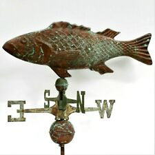 LARGE Vintage Handcrafted 3Dimensional Carp/Coy Weathervane Copper Patina Finish