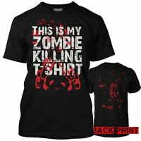 Premium This Is My Zombie Killing T-Shirt Bloody Handprint Walking Mens DeadTee