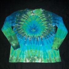 Organic Long Sleeve Tie Dye T-Shirt Blue & Green XL Hippie Hand Tye Dyed