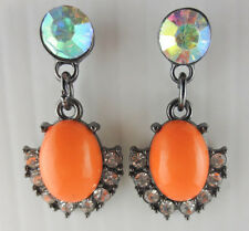 Coral Plastic Cabochon Earrings Dangling Crystal Aurora Borealis Rhinestone