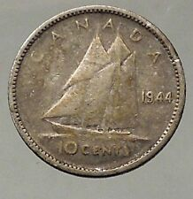 1944 CANADA King George VI - Silver 10 Cent SILVER Coin - BLUENOSE SHIP i57826