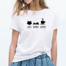 Women Plus Size Summer O-Neck Cat Print Tees Short Sleeve T-Shirt Blouse Tops