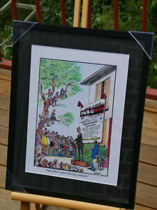 """Framed real Estate Cartoon Print """"Odd, didn't expect this big a turnout"""""""