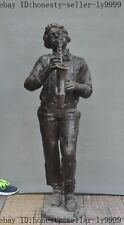 China Bronze Western artists Musicians Play saxophone Musical Instruments statue