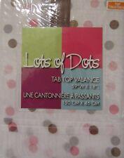 Lots of Dots Valance Curtain Polka Dot Pink Brown Tab Top
