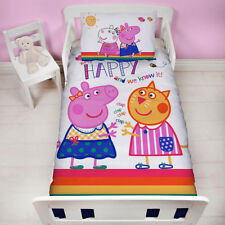 Peppa Pig HOORAY Junior Cot Bed Duvet Cover Toddler New Girls 120cm X 150cm