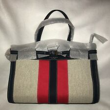 Tory Burch Canvas Suede Tote Shoulder bag Handbag Navy / Ivory New With Tag