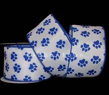 """10 Yards Pawprint Paw Print Dog Blue Wildcat Wired Ribbon 2 1/2""""W"""