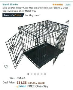 Ellie-Bo Medium Sized Folding Dog Cage with Non-Chew Metal - Black 30 inch used