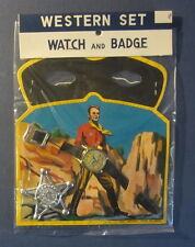 Old Vintage 1950's WESTERN Toy SET - Watch Badge & Lone Ranger style Mask