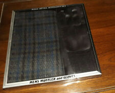 Vintage Men's Plaid Muffler & Black Gloves Set Size L/Xl Nib