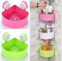 2pcs Bathroom Kitchen Shower Suction Cup Corner Shelf Storage Rack Organizer US
