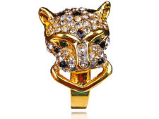 Gold Tone Jaguar Head Jet Black Clear Crystal Rhinestone Custom LJH Ring WB