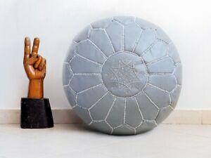 Ottoman Grey Floor Cushion Moroccan Leather Handmade Pouf  Stool Footstool Yoga