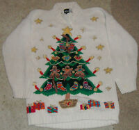 VTG CHRISTMAS TREE w/ Bows and Glitter! UGLY Christmas Sweater Womens Size M