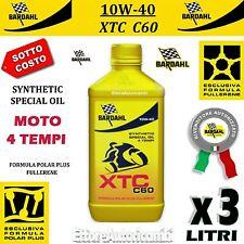 3 LITRI OLIO MOTO 4 TEMPI BARDAHL XTC C60 10W40 POLAR PLUS FULLERENE TAGLIANDO