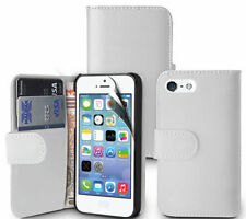 WHITE  Wallets leather Case Cover with clip and Card Slots for apple iPhone 5/5S