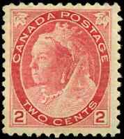 Canada #77 mint F-VF OG H 1899 Queen Victoria 2c carmine Numeral Die I CV$55.00