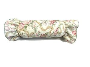 Custom Made Throw Pillow Accent Round Bolster White Pink Floral Print Ruffles
