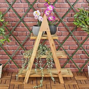 3 Tier Wooden Stairs Standing Shelving Flower Plant Decoration Display Rack