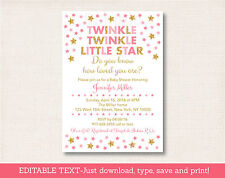 Pink & Gold Twinkle Little Star Printable Baby Shower Invitation Editable PDF