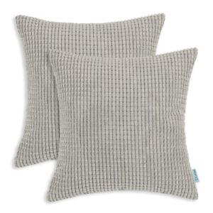 "2Pcs Light Taupe Throw Pillows Covers Shells Corn Soft Corduroy Striped 16 x 16"""
