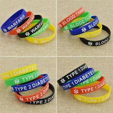 5 PCS Type 1 Diabetic Medical Alert Silicone Wristband Silicone Bracelet Gift