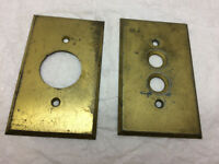 Vintage Light Plate Round Push Buttons Outlet Cover Brass Metal