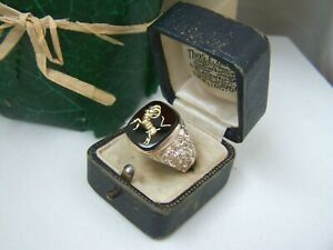 VINTAGE SOLID STERLING SILVER ONYX ARIES ZODIAC SIGN SIGNET SEAL RING SIZE T 9.5