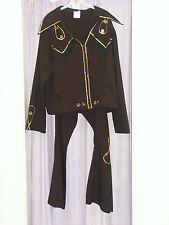 Mens 70s Elvis Style Black 2 Piece Set Fancy Dress Costume 56cm Large (242)
