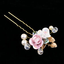 Elegant Rose Flower Crystal Wedding Party Bridal Prom Star Hair Pin Clips Pearl