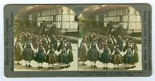 B8571~ Hand Tinted Costume Stereoview- Hessian Schoolgirls Mengsburg, Germany