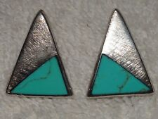 JRI MEXICO 925 STERLING TURQUOISE TRIANGLE PIERCED EARRINGS