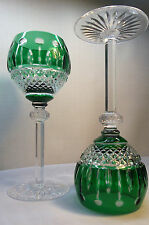 2 AJKA KING LOUIS EMERALD CASED CUT TO CLEAR CRYSTAL HOCK / GOBLET, MARKED ITEM