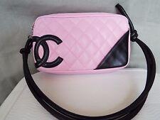 CHANEL Cambon Pink & Black Quilted Leather Shoulder Bag