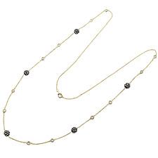 Sterling Silver Gold and Black Finish White Cubic Zirconia Station Necklace