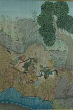 Tableau ancien Peinture sur soie Perse india Scène animé chasse aux lions