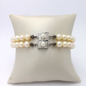 Akoya Cream Double Strand Pearl Bracelet Sterling Silver Clasp 8in Nice Luster
