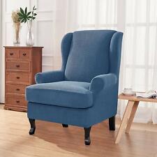 Enova Home Denim Blue Stretch Jacquard Spandex T-Cushion Wing Chair Slipcover