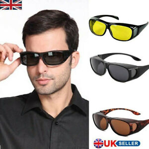 Fit Over Sunglasses with Side Shield Driving Lens Copper Wrap Protection Glasses